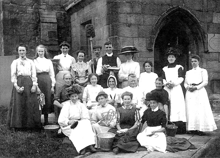 Working party at St Mary's Church, Crich 1910