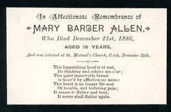 memorial card for Mary Allen
