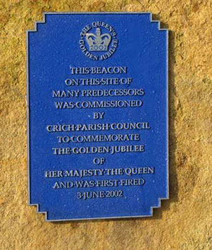 Plaque on Crich Stand beacon