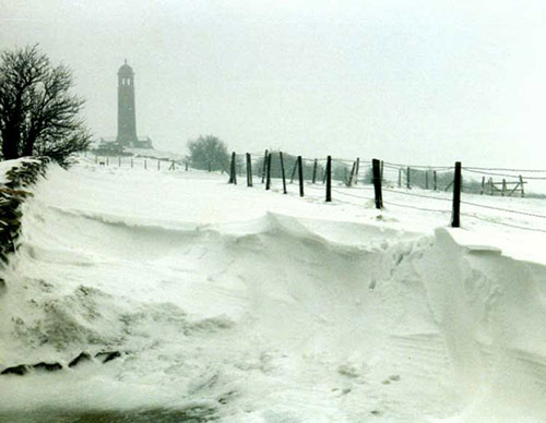 Crich Stand in the snow 1984