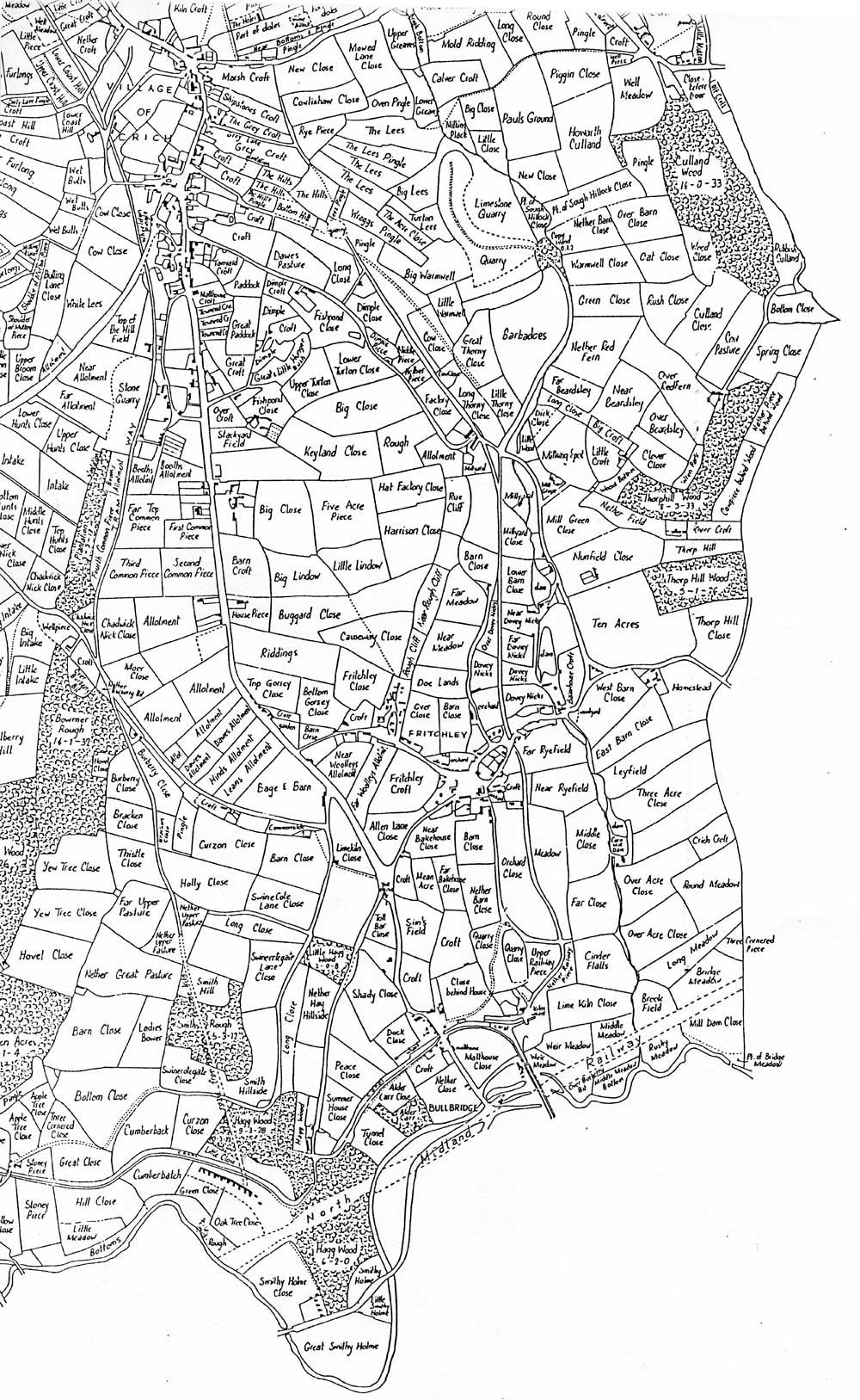 bottom right of Crich field names map 1849