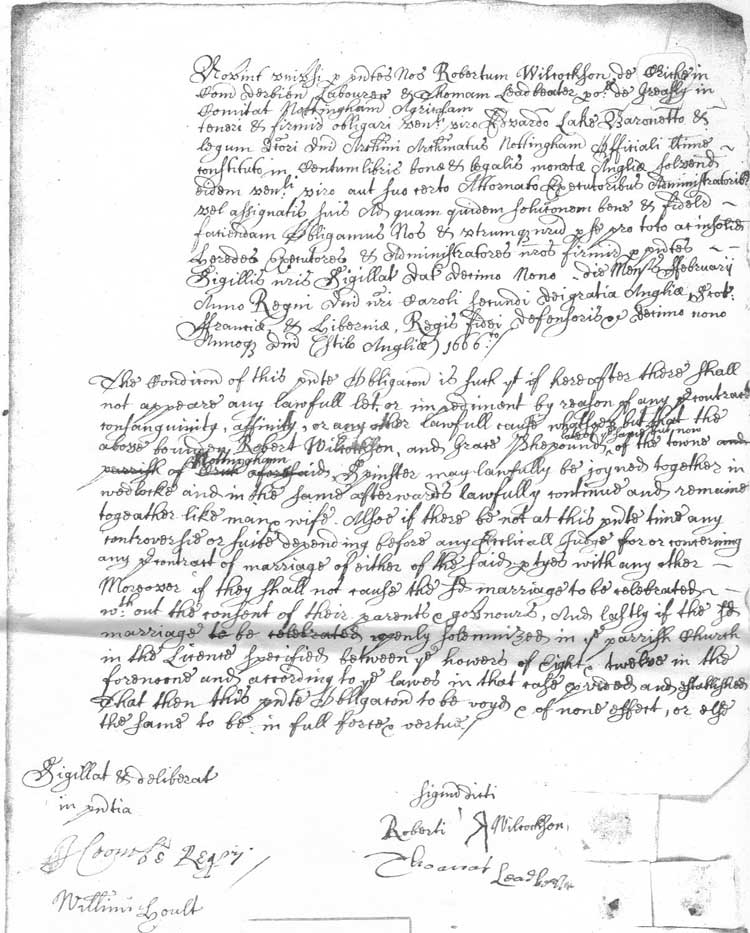 marriage bond of 1666