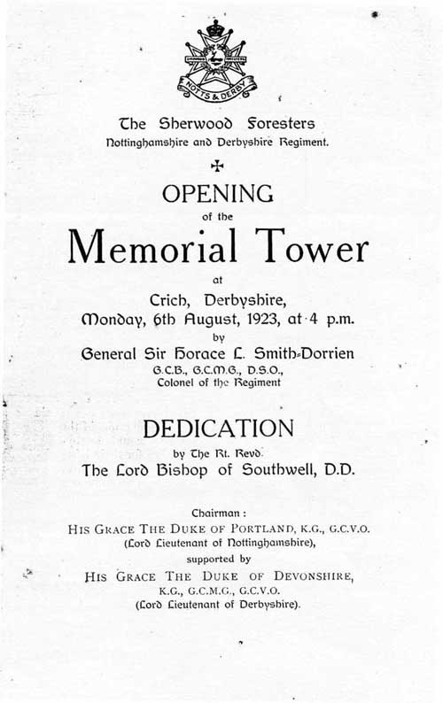 Programme of opening Crich Stand 1923