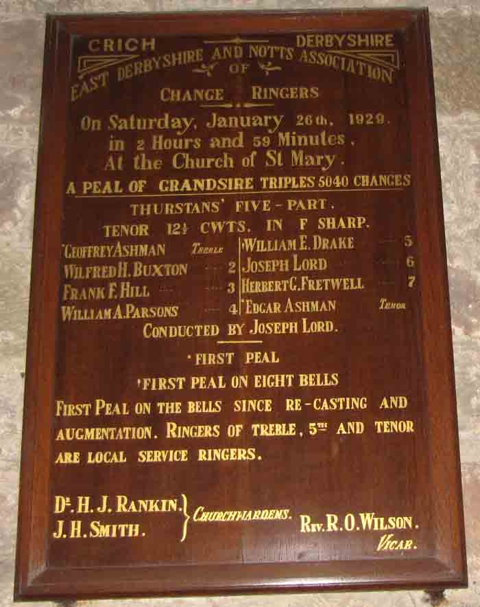 Bell ringers plaque of 1929 St Mary's Church, Crich