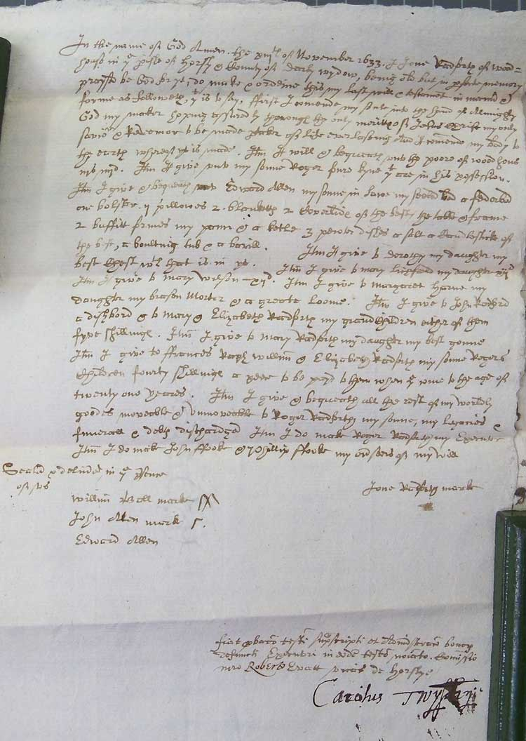 Will of Joan Radford 1634